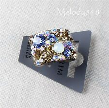 PILGRIM Adjustable WIDE Ring Swarovski Crystal Bronze Brown/Blue/White Opal BNWT