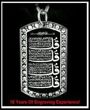 4 Qul Islamic Muslim CZ Pendant Necklace Charm Dog Tag 4 Qul CZ Pendant