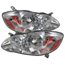 Toyota 03-08 Corolla Chrome Housing Replacement Headlights Pair Set CE S LE XRS
