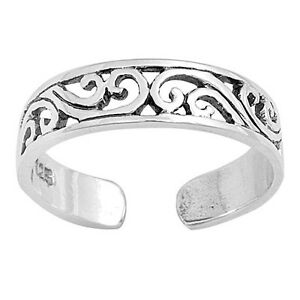 Filigree Toe Ring Genuine Sterling Silver 925 Plain Face Height: 4 mm