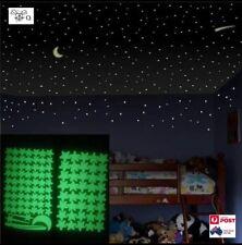 Glow In The Dark Stars Moon Sticker 3D Decal Art Luminous Wall Stickers 100Pcs