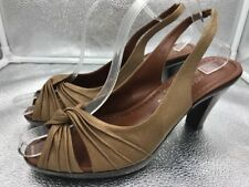Russell & Bromley Sz 41 8 Gold Leather Sandals Peep Toe Slingbacks Womens