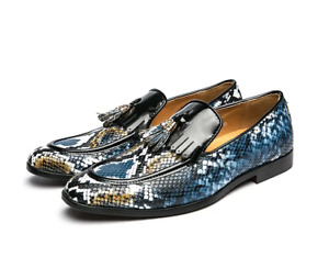 Korean Men Tassles Leather Printed Formal Loafers Party Clubwear Dress Shoes Sz