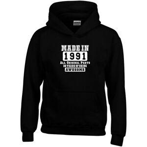 30th Birthday Hoodie Made in 1991 All Original Parts Fun Gift Men Sweatshirt Top