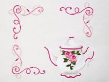 English Rose Teapot embroidered Quilt Label Custom for Quilt Tops & Blocks