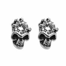 Skull Stud Earrings w. White Cubic Zirconia Stainless Steel Jewelry By Controse