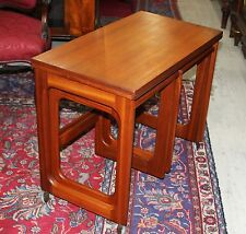 Set of 3 Mid-Century Teak Mcintosh Folding Top Coffee Tables Small Nesting Table