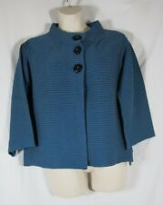 Nomadic Traders Blue Black Cotton Knit Cardigan Jacket Stripes Buttons NWT L