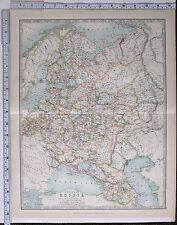 1915 LARGE MAP EUROPEAN RUSSIA CRIMEA TRANSCAUCASIA POLAND ST PETERSBURG FINLAND