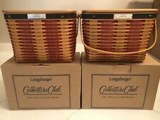 2 Longaberger 2001 Whistle Stop Baskets New w/ Liners Protectors Lids Brochures