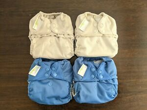 bumgenius Freetime all-in-one cloth nappies (2x blue, 2x ivory). Birth to potty.