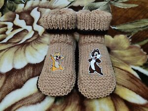 Hand Knitted Disney Chip and Dale Slippers Warm Socks with Patch Unisex