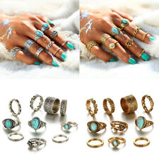 Boho Style Jewelry 10pcs/set Women Rose Flower Turquoise Stone Midi Knuckle Ring