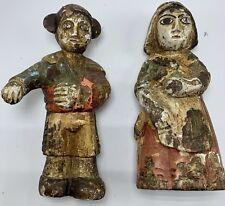 Lot Amazing Wood Polychrome Folk Statue Painted Sculpture Antique Figurine Dolls