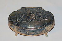 Antique Silver Tone Trinket Jewelry Box Nude Figure Embracing Crane Red Liner C4