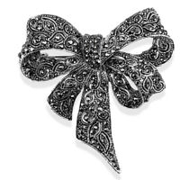 Crystal Rhinestone Bow Brooch Pin Women Shirt Collar Big Bowknot BroochJeweQ9QPF