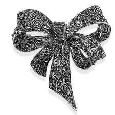 Crystal Rhinestone Bow Brooch Pin Women Shirt Collar Big Bowknot Brooch SRAU