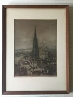 "Luigi Kasimir Original Color Etching Print ""St. Stephen's Cathedral"", Signed"