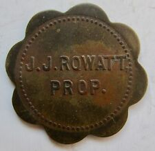 (Cherry, Illinois) J.J. ROWATT Good for 5c Trade Token c1910 Saloon