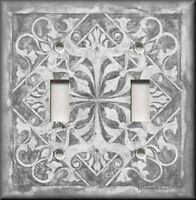 Metal Light Switch Plate Cover - Home Decor - Tuscan Tile Pattern - Light Grey