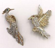 2 Vintage Bird Brooch Pins Clear Rhinestones - Green & Red Eyes - Gold Tone