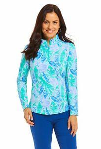 IBKUL Womens Allison Print Long Sleeve Mock Top Golf Pullover - New 2021