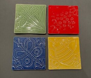CRATE & BARREL Insect Coasters (4) Bee Dragonfly Butterfly Ladybug Italy Tile