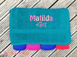 Embroidered Personalised Swimming or Sports Towel.  Ideal kids gift // Fish