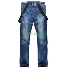Men Womens waterproof ski pants Jeans Snowboarding Denim Retro warm Long trouser