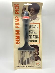 """Vintage Afro Haircare Comb """"Gemini Pump Pick"""" Sealed New Old Stock s3"""