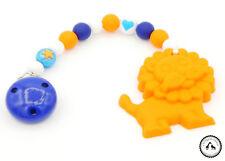 ♥ Beisskette aus Silikon ★ Löwe in dunkelblau/orange/weiss - Silikonkette ♥ NEU
