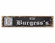 SPFN0407 The BURGESS'S Family Name Street Chic Sign Home Decor Gift Ideas