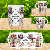 PERSONALISED MUG 10 PHOTO COLLAGE ADD TEXT CUSTOM DESIGN GIFT TEA COFFEE CUP v1