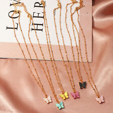 Korean Cute Butterfly Necklace For Women Gold Color Long Chain Pendant Necklace