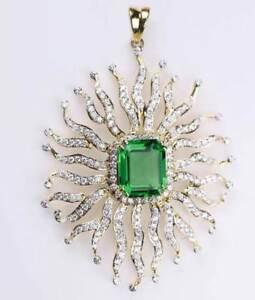 4.98ct Natural Round Diamond 14K Solid Yellow Gold Emerald Wedding Pendant