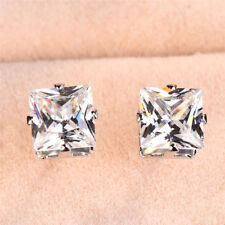 Exquisite 925 Silver Princess Cut Colorful Zircon Stud Earrings Wedding Jewelry
