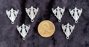 6 Art Deco Grapes Silver Tone Pendants or 3 Way Findings. Earrings Necklaces etc
