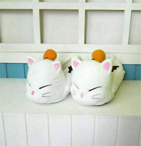 Gift Final Fantasy 14 MOOGLE Cosplay Shoes Warm Slippers FF14 Cute Costume Props