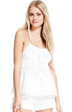 NEW M&S Pure Cotton White Lace Insert Camisole Pyjama Top 12