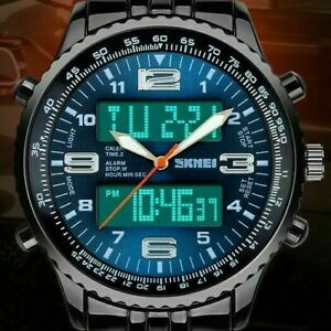 Mens Luxury Analogue Digital Stainless Steel LED Army Military Sport Wrist Watch