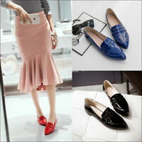 Women's Patent Leather Pointy Toe Slip On Loafers Fashion OL Flats British Shoes