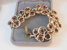 Lovely Gold tone Fancy Amethyst Purple Wide Fashion Bracelet 9h 4
