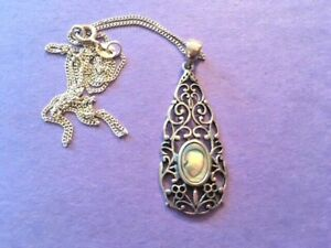 Abalone Pendant Necklace Fancy Open Scrollwork  .925 Sterling Silver 18 inch