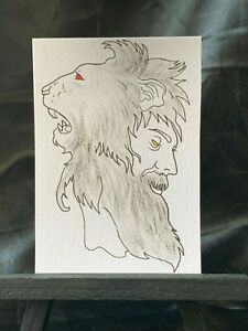 ACEO Original King Leo III Medium Black Ink Marker on Paper Signed by Artist PH
