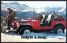 1985 Jeep Cj in Mountain Snow Alaskan Malamute Dog photo 2-page vintage print ad