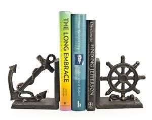 Nautical Bookend Set ~ Solid Iron Anchor & Helm Book Holder Decor, Bronze Finish