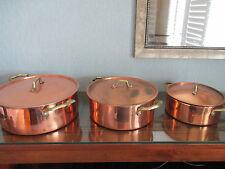 Lot of 3 Vintage Copper Metalware Pots with Lids Brass Handles Patina Korea