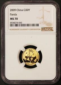 2009 China 50 Yuan Panda 1/10 oz .999 Gold Coin - NGC MS 70