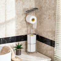 Free Standing Toilet Paper Holder For Bathroom Storage Brushed Stainless Rack