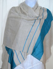 Handwoven Pashmina Cashmere Wool Shawl in Whitish Gray with border from India